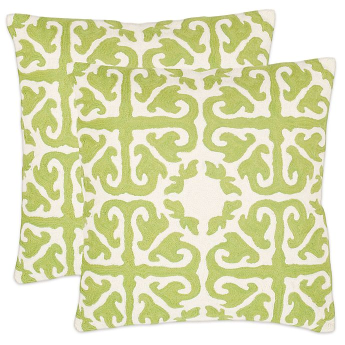 Alternate image 1 for Safavieh Moroccan 22-Inch x 22-Inch Throw Pillows in Lime Green (Set of 2)