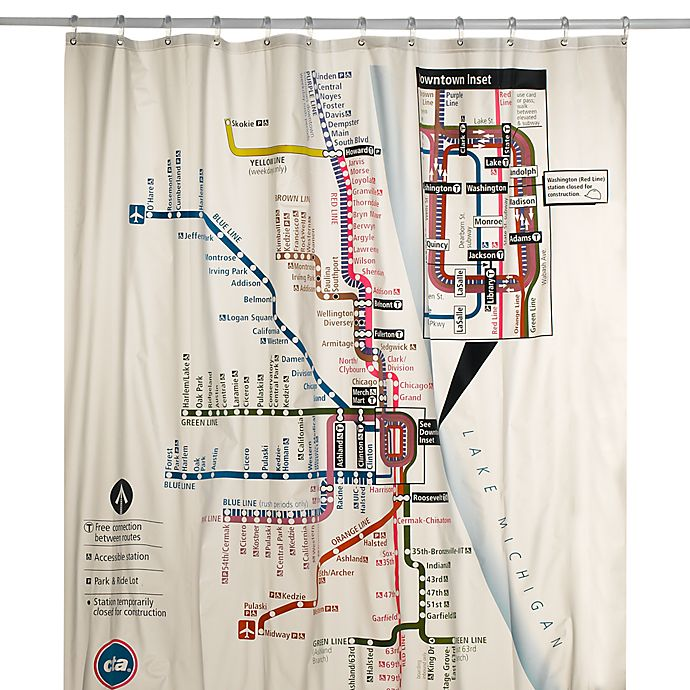 Chicago CTA Map Vinyl Shower Curtain | Bed Bath & Beyond on