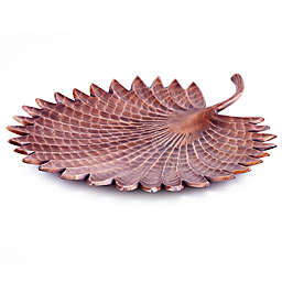 Old Dutch International Tribal Leaf Tray in Antique Copper-Plate
