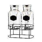 Style Setter Blackboard Glass Beverage Dispenser Set with Stand