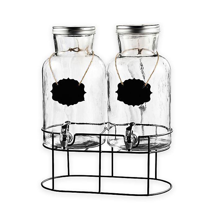 Alternate image 1 for Style Setter Blackboard Glass Beverage Dispenser Set with Stand