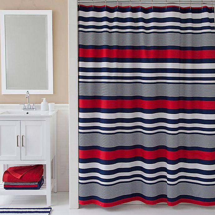 IZODR Varsity Stripe Shower Curtain In Blue