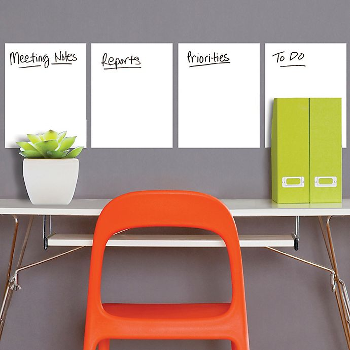Alternate image 1 for Wallies Peel & Stick Dry Erase Sheets in White (Set of 4)