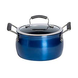 Epicurious Aluminum Nonstick 4 qt. Covered Soup Pot in Arctic Blue