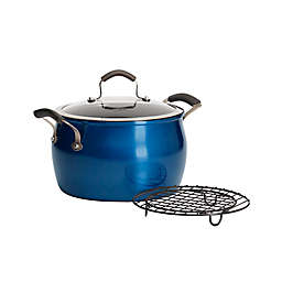 Epicurious Aluminum Nonstick 8 qt. Covered Dutch Oven with Meat Rack in Arctic Blue