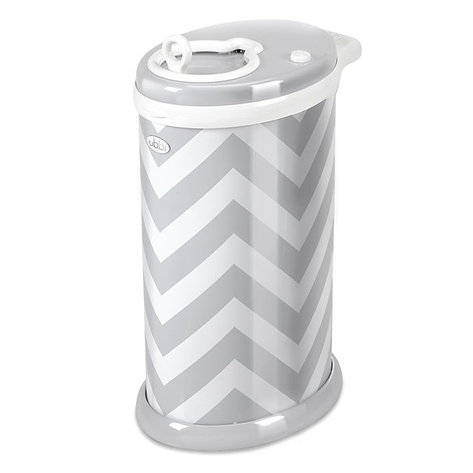 Alternate image 1 for Ubbi® Diaper Pail in Chevron Grey