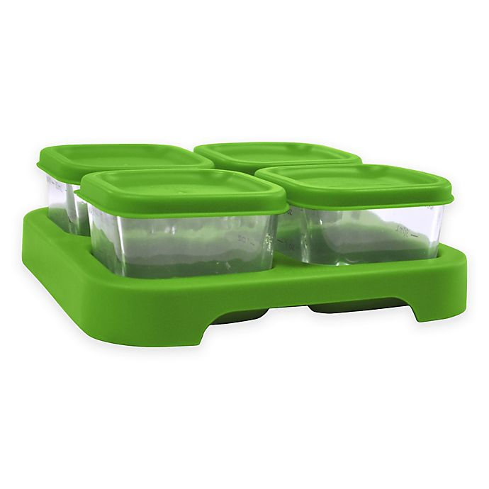 Alternate image 1 for green sprouts®  2 oz. Fresh Baby Food Glass Cubes in Green (Set of 4)