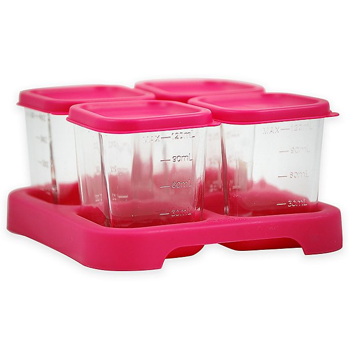 Alternate image 1 for green sprouts® Fresh Baby Food 4 oz. Glass Cubes in Pink (Set of 4)