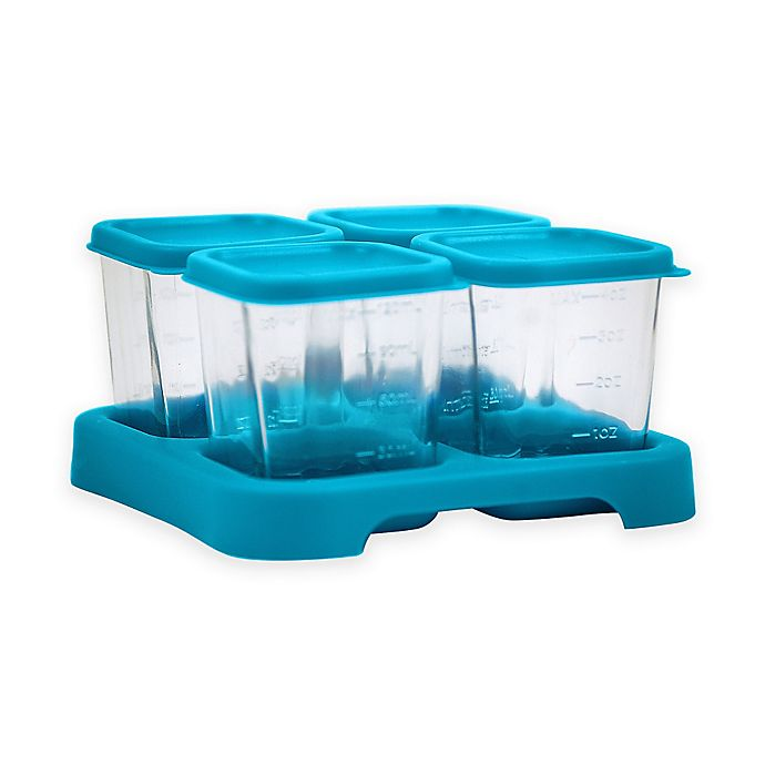 Alternate image 1 for green sprouts® Fresh Baby Food 4 oz. Glass Cubes in Aqua (Set of 4)