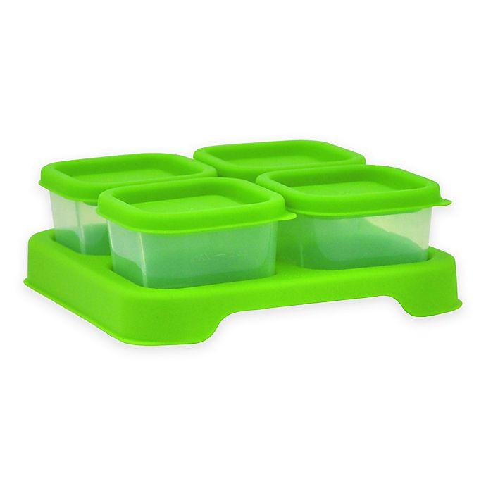 Alternate image 1 for green sprouts® 2 oz. Fresh Baby Food Unbreakable Cubes in Green (Set of 4)