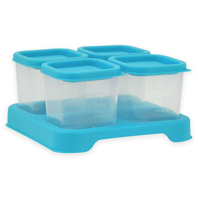 Alternate image 1 for green sprouts ® 4 oz. Fresh Baby Food Unbreakable Cubes in Aqua (Set of 4)