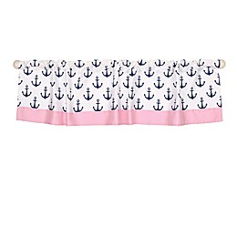 The Peanutshell™  Anchor Window Valance in Navy/Pink