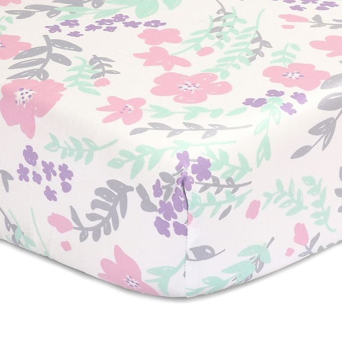 Alternate image 1 for The Peanutshell™  Floral Fitted Crib Sheet in Pink