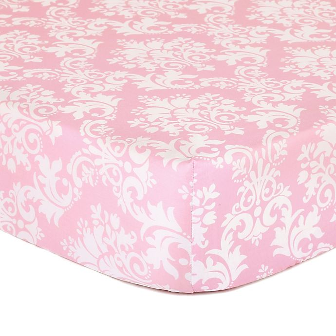 Alternate image 1 for The Peanutshell™  Damask Fitted Crib Sheet in Pink