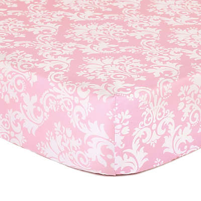 The Peanutshell™  Damask Fitted Crib Sheet in Pink