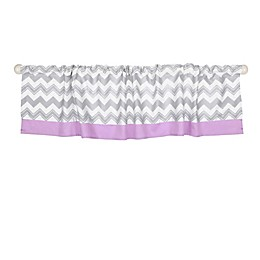 The Peanutshell™  Chevron Window Valance in Grey/Purple