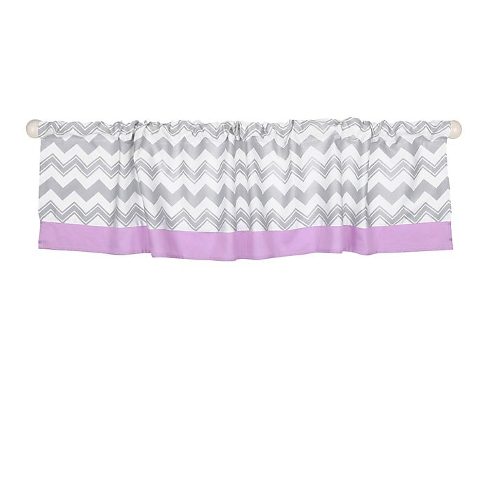 Alternate image 1 for The Peanutshell™  Chevron Window Valance in Grey/Purple