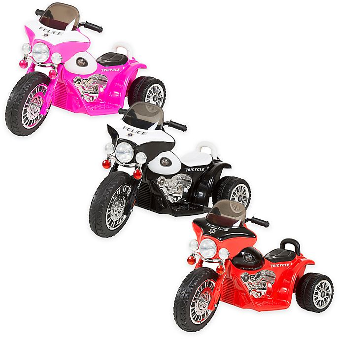 Alternate image 1 for Lil Rider Mini Battery-Operated Three-Wheel Police Chopper