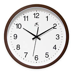 Infinity Instruments Walnut Finished Clock with Large Numbers