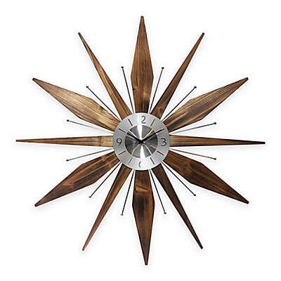 Infinity Instruments Utopia Mid-Century Modern Vintage Sunburst Wall Clock