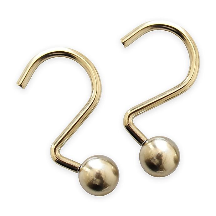 Alternate image 1 for Ball Shower Curtain Hooks in Gold (Set of 12)