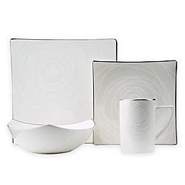 Red Vanilla Orbit 8-Piece Dinnerware Set in White