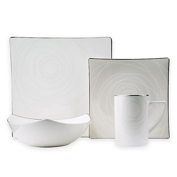 Alternate image 1 for Red Vanilla Orbit 8-Piece Dinnerware Set in White