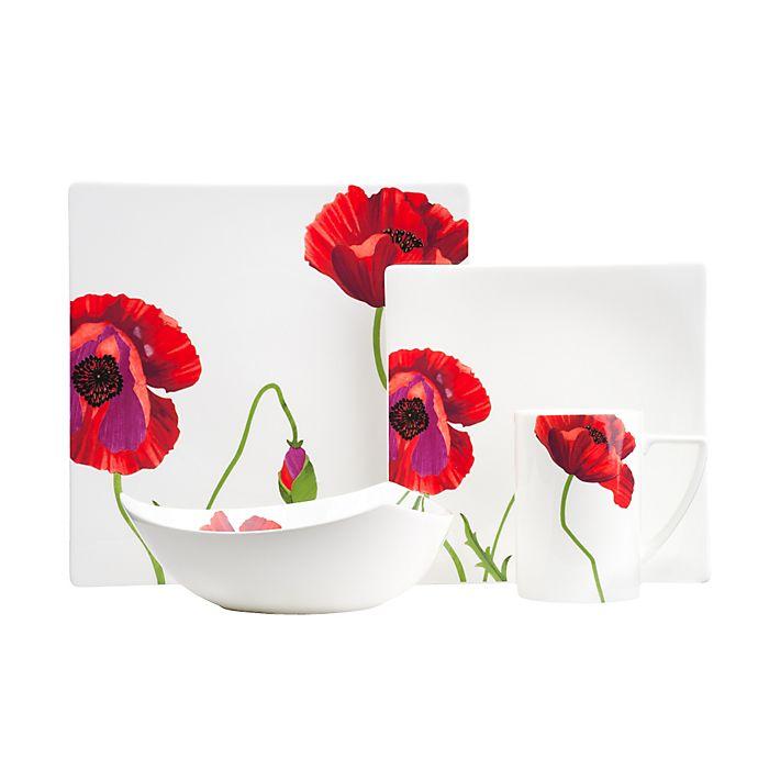 Alternate image 1 for Red Vanilla Summer Sun 8-Piece Square Dinnerware Set