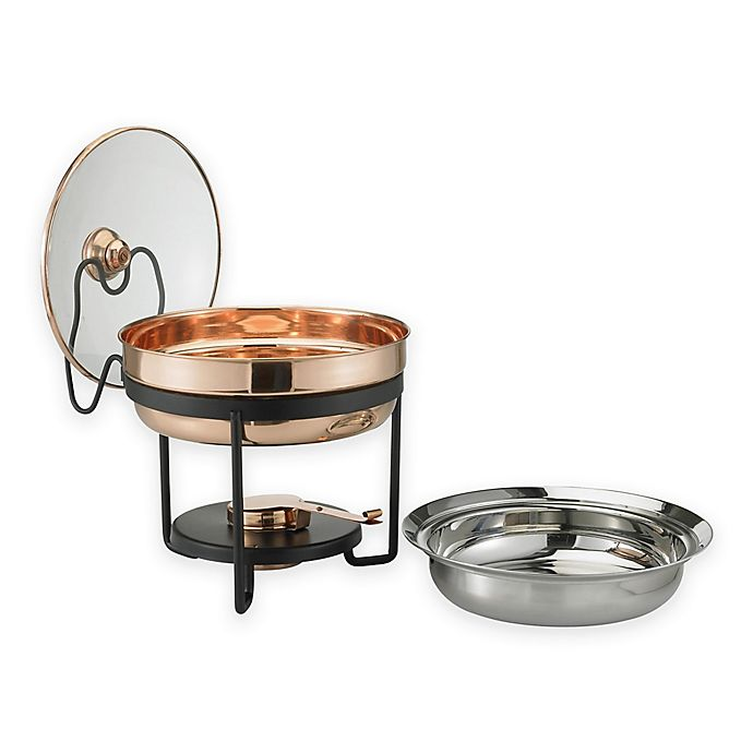 Alternate image 1 for Old Dutch International 2.5 qt. Round Décor Copper Chafing Dish with Glass Lid