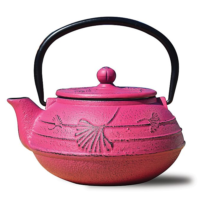 Alternate image 1 for Old Dutch International Cast Iron Ginkgo Teapot in Fuchsia