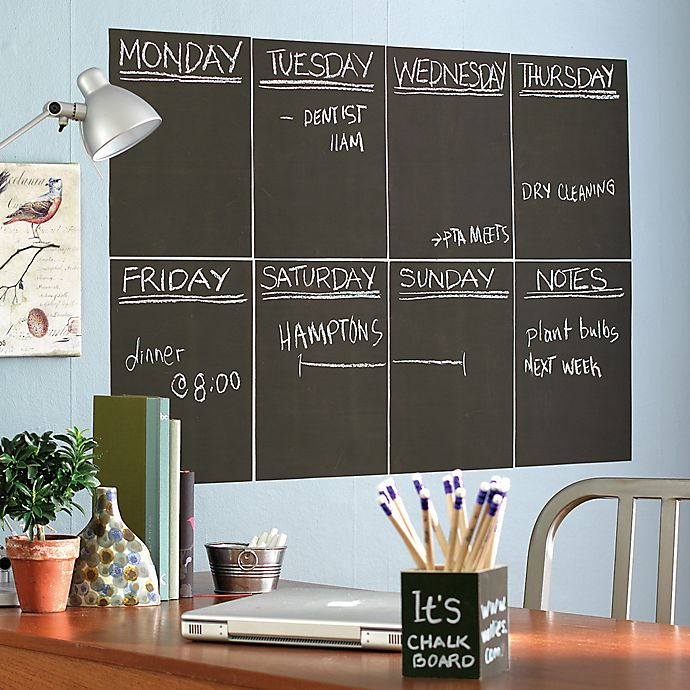Alternate image 1 for Wallies Peel & Stick Chalkboard Wall Decals in Grey (Set of 4)