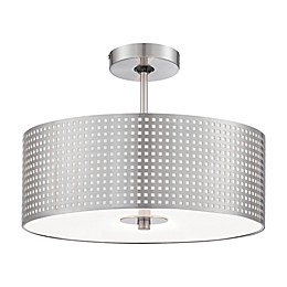 George Kovacs® Grid™ 3-Light Semi-Flush Mount Ceiling Fixture in Brushed Nickel