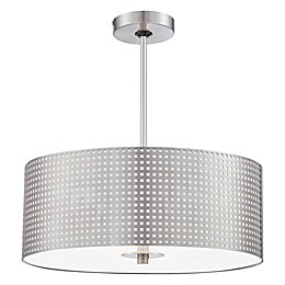 George Kovacs® Grid™ 3-Light Drum Pendant in Brushed Nickel with Steel Shade