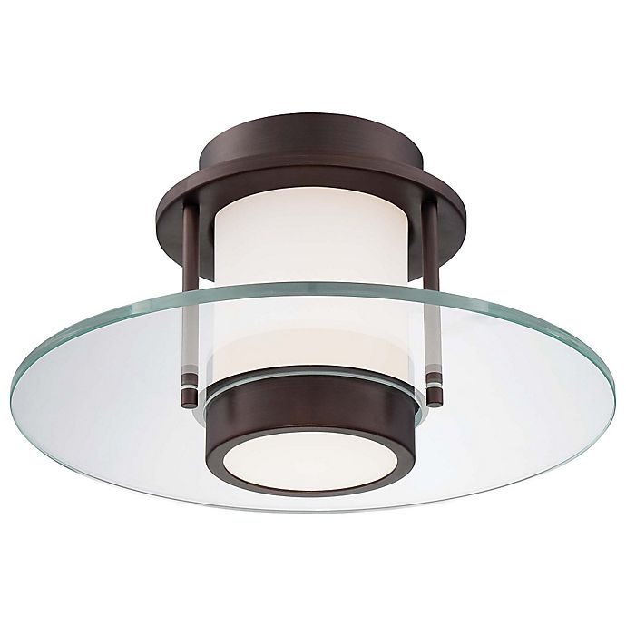 George Kovacs 174 1 Light Dimmable Flush Mount Lamp In Copper Bronze With Etched Opal Glass Bed