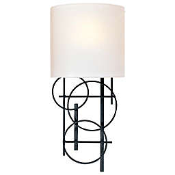 George Kovacs® 1-Light Wall Sconce in Black with Pearl Mist Glass Shade