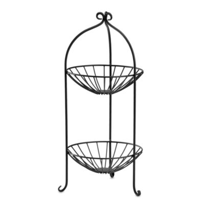2 Tier Wire Fruit Basket In Black Bed Bath Amp Beyond