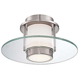 George Kovacs 1-Light Flush-Mount Wall Lamp with Brushed Nickel Finish and 2 Glass Shades