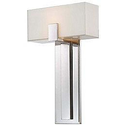 George Kovacs 1-Light Wall Sconce in Polished Nickel with Mitered White Glass Shade