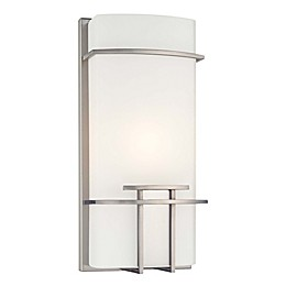 George Kovacs® 13.5-Inch 1-Light Wall Sconce in Brushed Nickel with Glass Shade