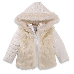 Only Kids Hooded Nylon Faux Fur Jacket in Ivory
