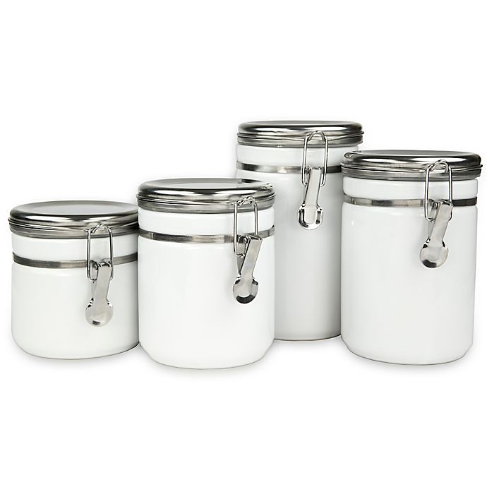 Alternate image 1 for 4-Piece Ceramic Canister Set with Stainless Steel Tops in White