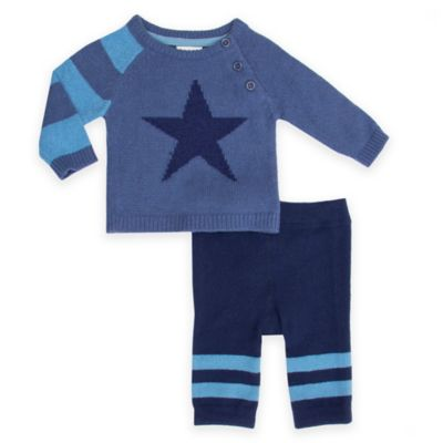 Cuddl Duds 174 2 Piece Star Sweater And Pant Set In Blue