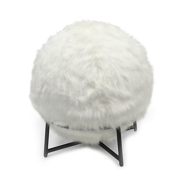 Inflatable Ball Chair With Faux Fur Cover And Stand In Ivory Bed Bath Beyond