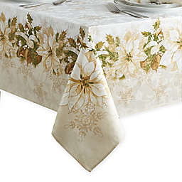 White Poinsettia Tablecloth