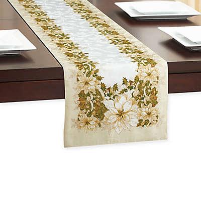 White Poinsettia Table Runner