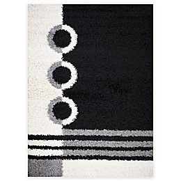 Shaggy Rings Area Rug in Black