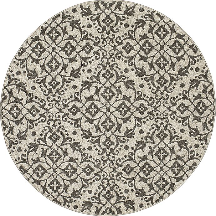 Alternate image 1 for New Casa Medallions 7-Foot 10-Inch Round Area Rug in Ivory/Grey