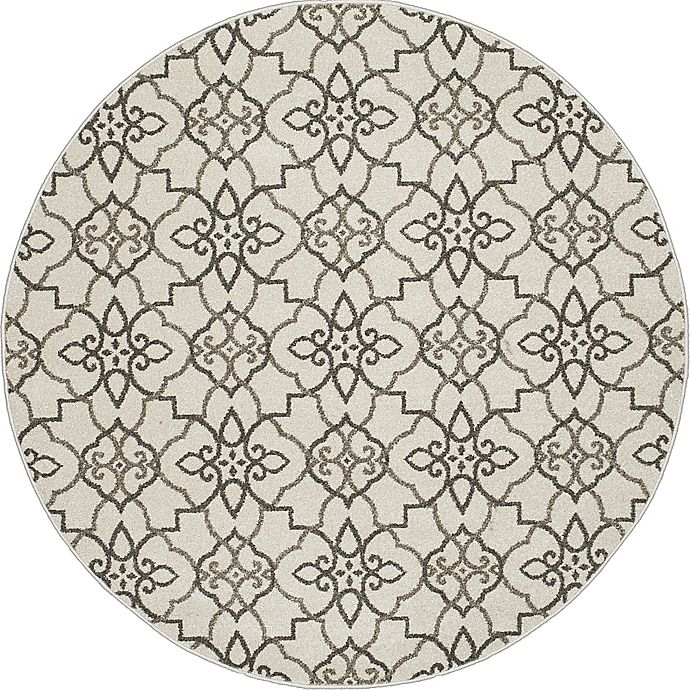 Alternate image 1 for New Casa Trellis 5-Foot 3-Inch Round Area Rug in Grey