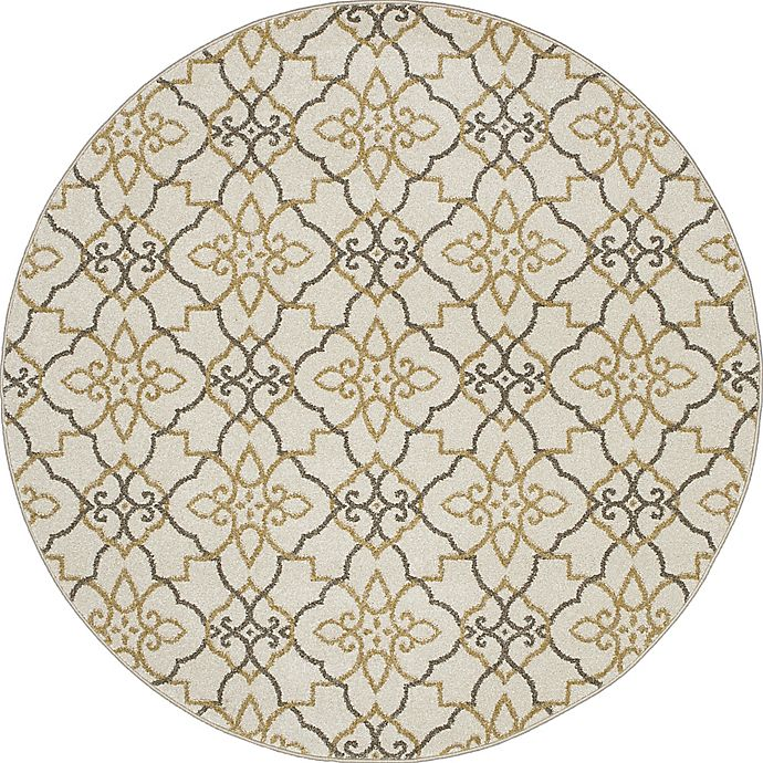 Alternate image 1 for New Casa Trellis 5-Foot 3-Inch Round Area Rug in Yellow/Ivory