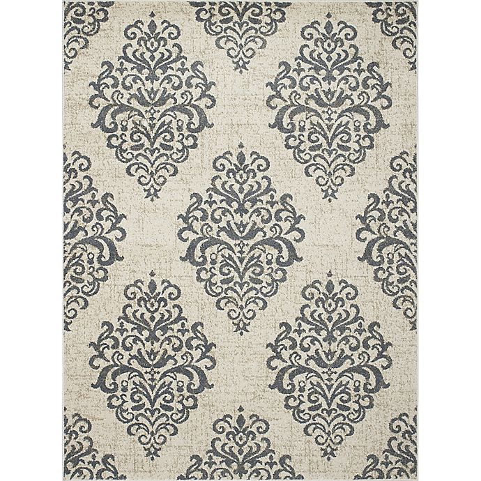 Alternate image 1 for New Casa Damask 3-Foot 3-Inch x 4-Foot 7-Inch Accent Rug in Ivory/Blue